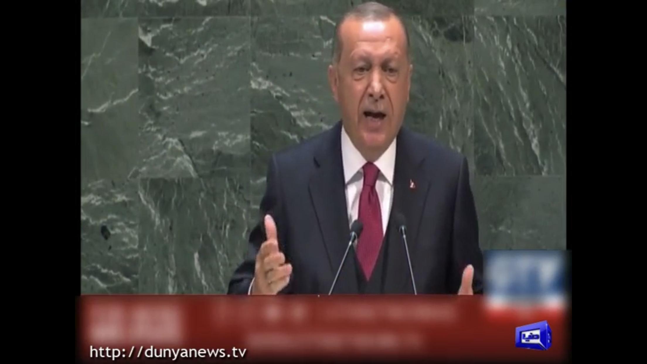 Turkish President Erdogan raises Kashmir issue at UN |